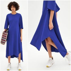 Zara Trafaluc Asymmetrical Maxi Dress in blue